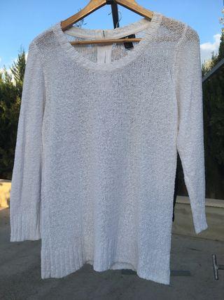 Jersey blanco calado, H&M, talla M