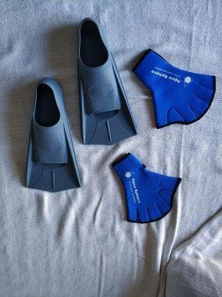 aletas y guantes de natación adulto rebajado