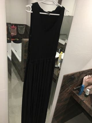 Vestido largo negro mango talla S