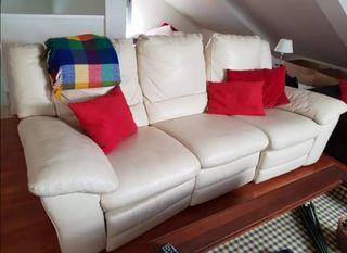 sofá reclinable 3 plazas piel
