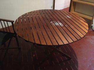 Mesa de jardín/terraza + 2 sillas lona