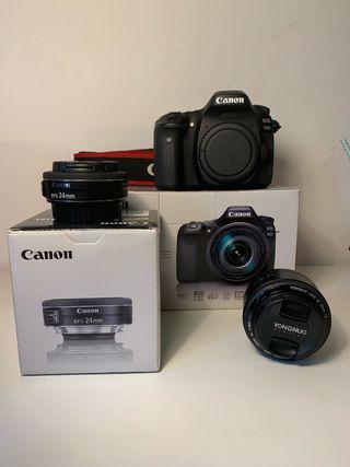Canon 80 d +objetivos+tripode