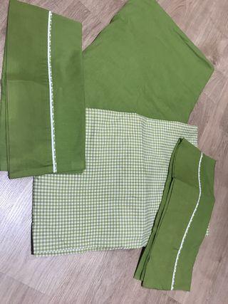 Juego sabanas verde cama de 150cm