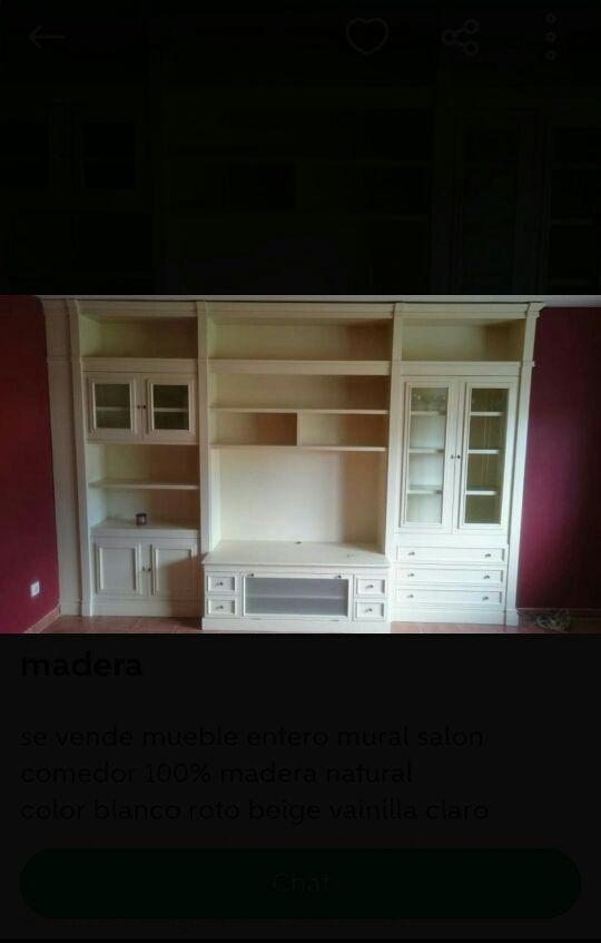 Mueble mural madera salon comedor de segunda mano por 750 ...