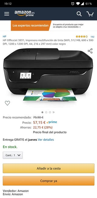 Impresora HP OfficeJet 3831 *Sin abrir*