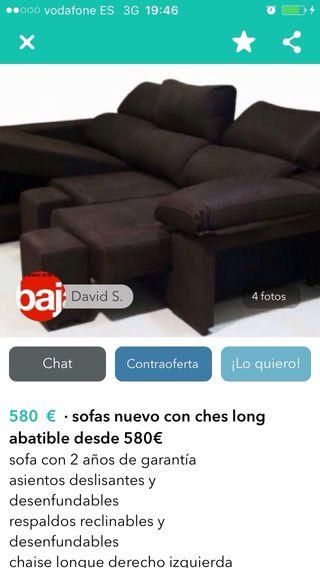 Sofá 3 plazas chaiselong arcon nuevos