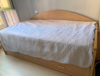 Cama nido de madera + colchones + 3 juegos de cama