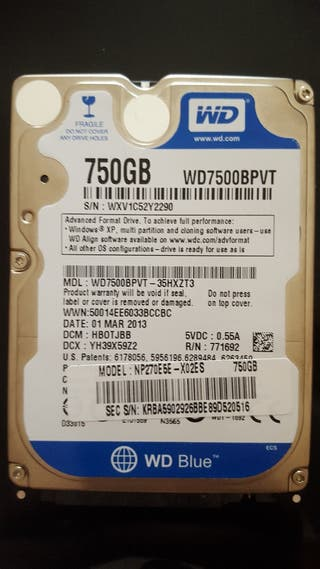 Disco duro sata de 750Gb