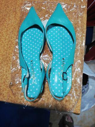 zapatos de piel verdes