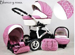 carro bebé trío white lux rosa