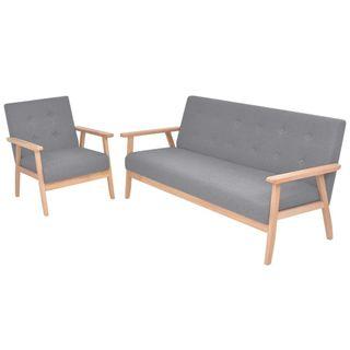 Juego de sofás de 2 piezas tela gris claro