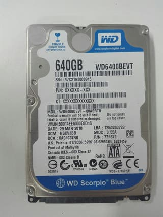 "Disco duro WD 640GB SATA 2.5"" para portatil,play."