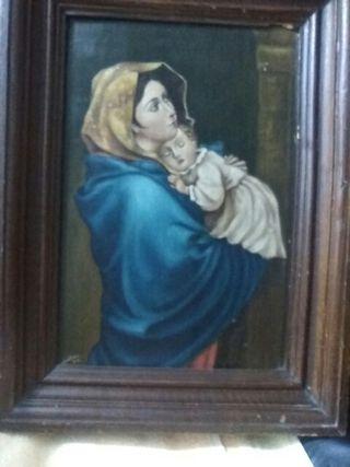 Cuadro antiguo pintado -La Virgen con El Niño