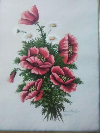 Cuadro pintado - flores silvestres sobre papel.