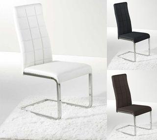 Pack 2 sillas de comedor, silla tapizada polipiel