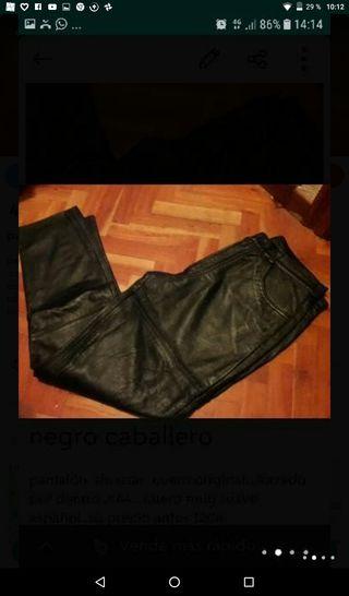 pantalón negro cuero original hombre t 44