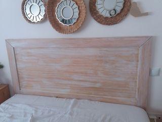 Cabecero madera pino decapado