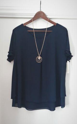 Pronto Moda Blusa azul marino talla XL