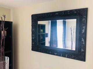 Espejo diseño madera negro