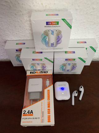 i18 auricular inalámbrico + cargador IDUSD iphone