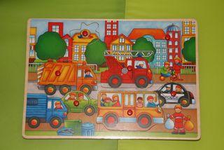 Puzzle madera vehículos