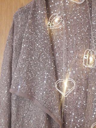 Rebequita *NUEVA chaqueta brilla lentejuelas beige
