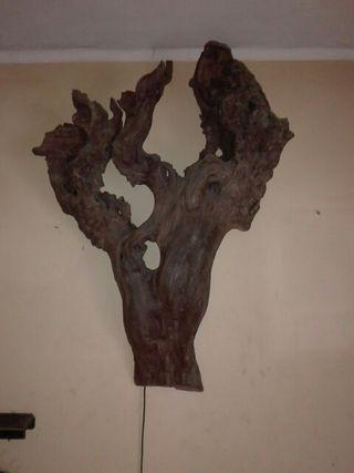 artesania lampara madera de olivo