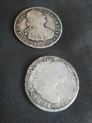 8 Reales plata 1801 y 1802