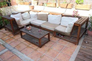 sofás madera exterior