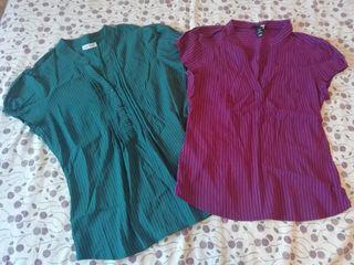 Dos camisetas mujer. Azul y morada