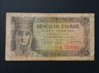 Billete 5 pesetas 1943 Isabel la Católica