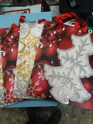 bolsa cartulina grande navidad con relieve