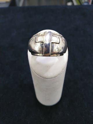 anillo plata de ley con cruz relieve