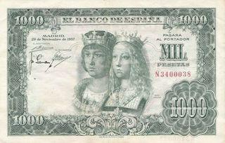 Billete 1000 Pesetas de 1957 Reyes Católicos