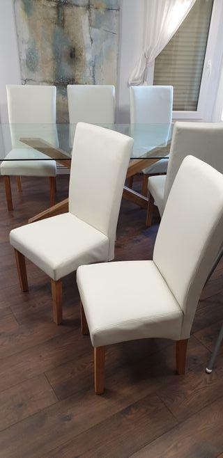 6 sillas blancas de fresno macizo NUEVAS!!