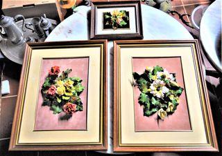 Conjunto de 3 cuadros vintage relieve