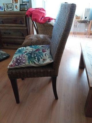 6 sillas de tienda becara mimbre y madera