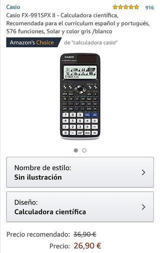 Vendo calculadora casio con panel solar.