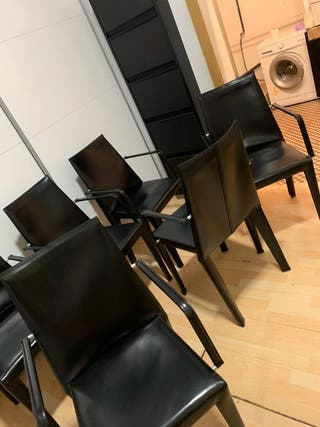 6 sillas de comedor en piel