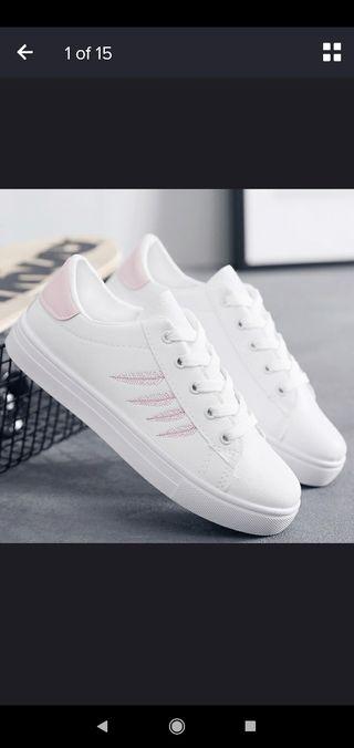 Deportivas, bambas, blancas/rosa talla 37