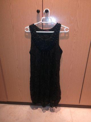 vestido noche negro encaje