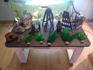 adornos acuario plantas figuras