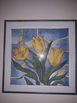 Juego de 2 cuadros pintados en seda