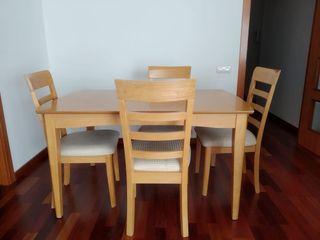 Mesa comedor (extensible) con 4 sillas