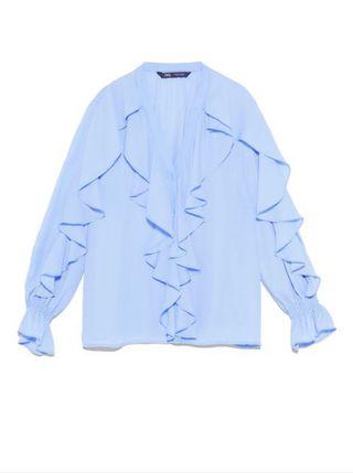 Blusa azul volantes