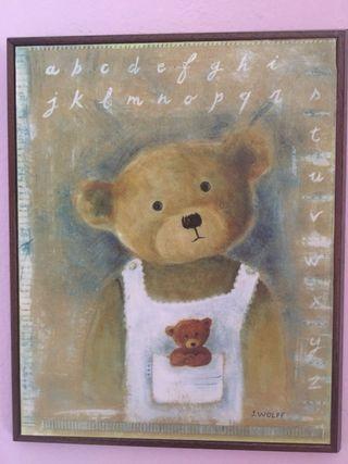 Juego de 2 cuadros oso y osa