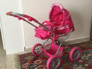 Cochecito carrito capota juguete rosa