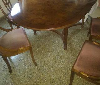 Conjunto mesa comedor y 6 sillas de roble macizo