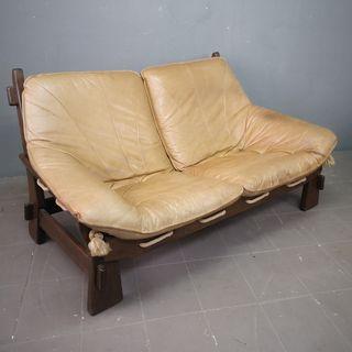 Sofa de piel y roble Danés de deseño Años 80