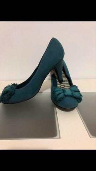 Zapatos tacón color turquesa